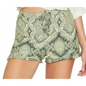 TIGERLILY GREEN PAISLEY LACE UP TIE FRONT SHORTS